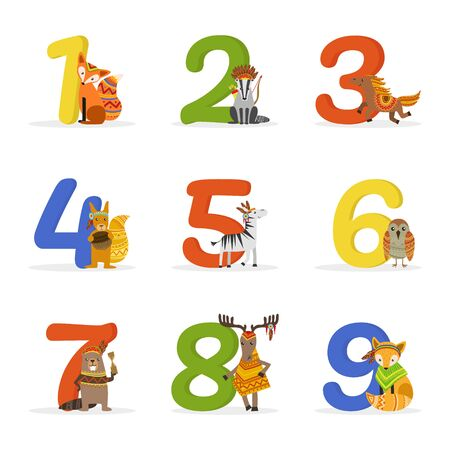 Cute Wild Ethnic Animals and Numbers, Birthday Anniversary Numbers Vector Illustration on White Background.