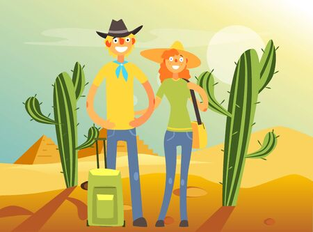 Happy Family Couple Traveling and Sightseeing, Young Man and Woman Posing in Desert Vector Illustration, Web Design. Stock Illustratie