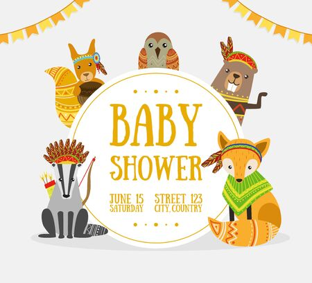 Baby Shower Banner Template with Place for Text and Cute Wild Ethnic Animals Vector Illustration, Web Design.