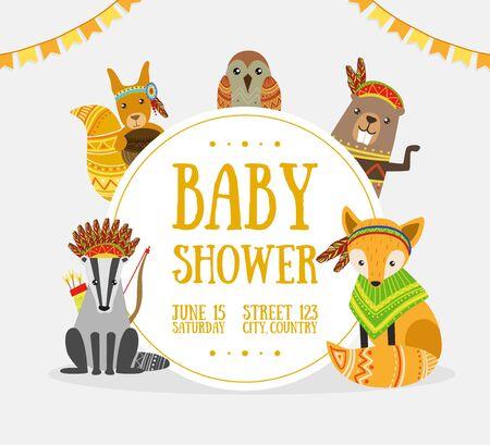 Plantilla de banner de baby shower con lugar para texto y lindos animales étnicos salvajes ilustración vectorial, diseño web. Ilustración de vector
