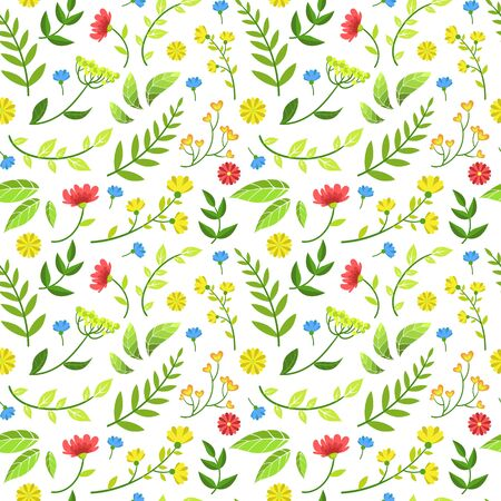 Floral Seamless Pattern of Round Shape with Green Leaves and Flowers, Design Element Can Be Used for Fabric, Wallpaper, Packaging, Background Vector Illustration.