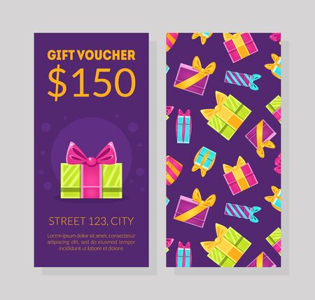 Gift Voucher Template, Certificate or Coupon with Market Special Offer Vector Illustration Illustration