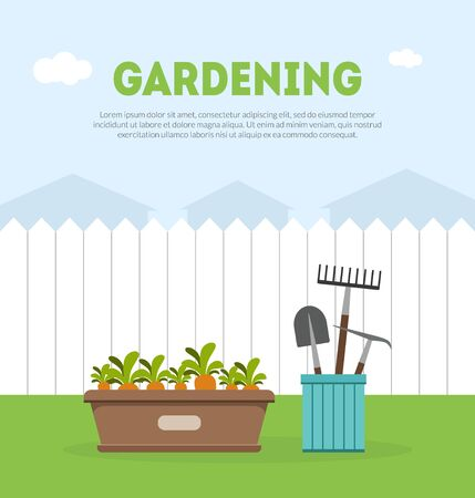 Gardening Banner Template with Place for Text, Fence, Garden Tools and Seedlings Vector Illustration
