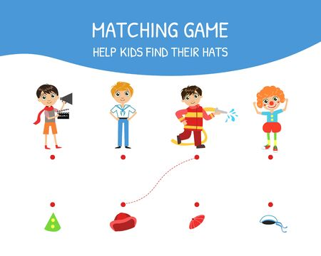 Educational Matching Game for Children, Help Kids Find Their Hats Vector Illustration on White Background.