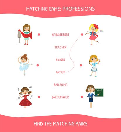 Educational Matching Game for Children, Professions, Find The Hatching Pairs Vector Illustration on White Background. Stock Illustratie