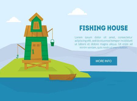 Fishing House Landing Page Template, Lonely Hut with Boat on Island on Vector Illustration, Web Design.