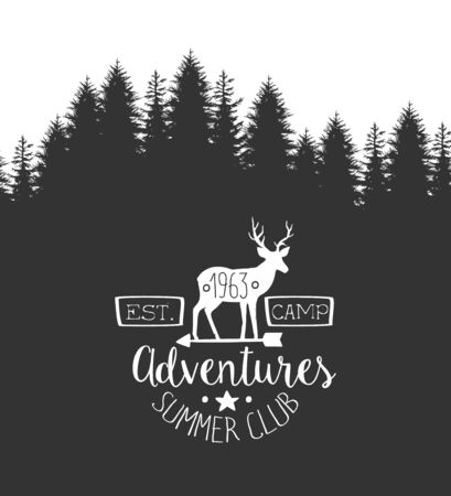 Summer Adventures Club Label Template, Retro Monochrome Travel Badge with Hand Lettering Vector Illustration