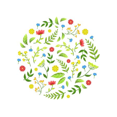 Floral Seamless Pattern of Round Shape with Green Leaves and Flowers Vector Illustration, Web Design.