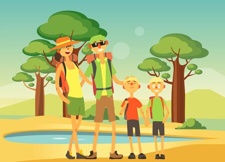 Happy Family Traveling and Sightseeing, Smiling Mother, Father and Their Two Sons Posing on Savannah Background Vector Illustration, Web Design.