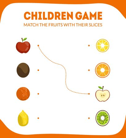 Children Educational Game for Preschool Kids, Match the Fruits with Their Slices, Vector Illustration Illustration