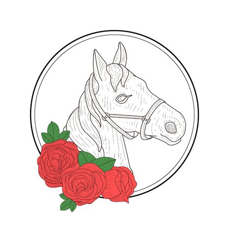 Hand Drawn Horse Head Profile and Red Rose Flowers Vector Illustration on White Background.