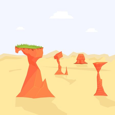 Desert Natural Landscape Background with Sandy Surface and Rocks Vector Illustration, Web Design. Illusztráció