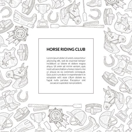 Horse Riding Club Banner Template with Place for Text and Horseback Equipment Pattern, Horse School, Riding Lessons, Equestrian Club, Monochrome Hand Drawn Vector Illustration, Web Design.