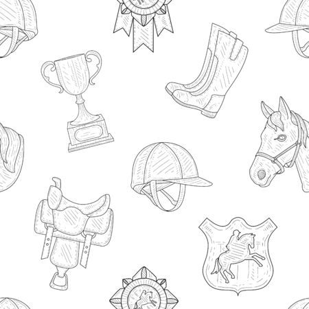 Horseback Equipment Hand Drawn Seamless Pattern, Design Element Can Be Used for Fabric, Wallpaper, Packaging, Background Vector Illustration.