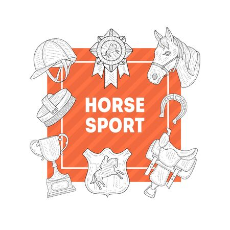Horse Sport Banner Template with Horseback Equipment, Horse School, Riding Lessons, Horse Breeding, Equestrian Club, Monochrome Hand Drawn Vector Illustration