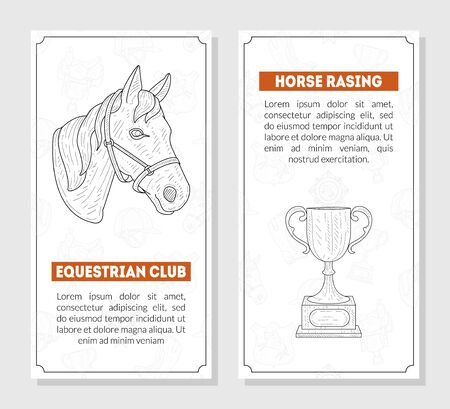 Horse Sport Cards Templates with Place for Text, Horse School, Riding Lessons, Equestrian Club, Monochrome Hand Drawn Banners, Vector Illustration, Web Design.