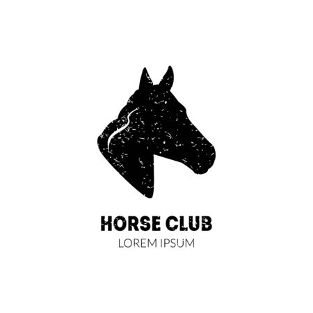 Horse Club Logo Template with Horse Head Profile, Equestrian Sport Club, Horse School Riding Lessons Badge Vector Illustration 向量圖像