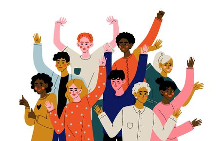 Happy Young Men and Women Standing Together, Diverse Multiracial Group of People, Social Diversity Vector Illustration