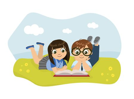 Cute Boy and Girl Lying on Lawn and Reading Book Vector Illustration, Web Design. Illustration