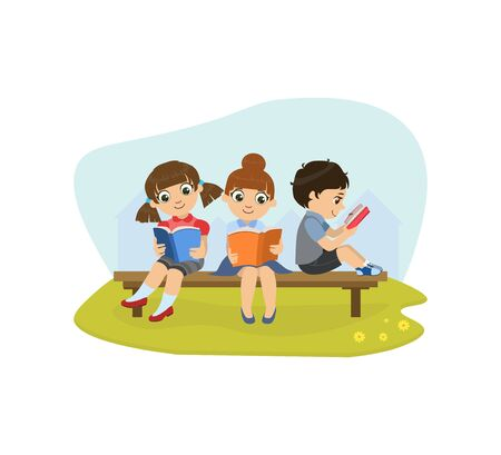 Cute Little Girls and Boy Sitting on Bench in Park and Reading Books Vector Illustration, Web Design.