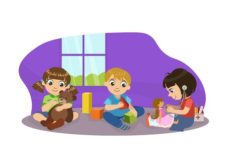 Cute Boys and Girl Sitting on Floor and Playing with Toys in Playroom, Kids Kindergarten Activities Vector Illustration Illustration