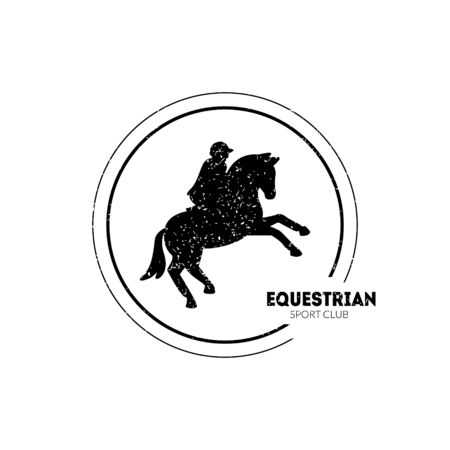 Equestrian Sport Club Logo Template with Jumping Horse and Jockey Vector Illustration Ilustrace