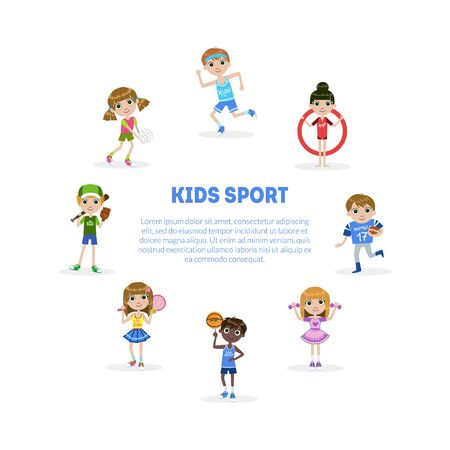Kids Sport Banner Template with Space for Text, Cute Boy and Girls Engaged in Various Sports Vector Illustration, Web Design.