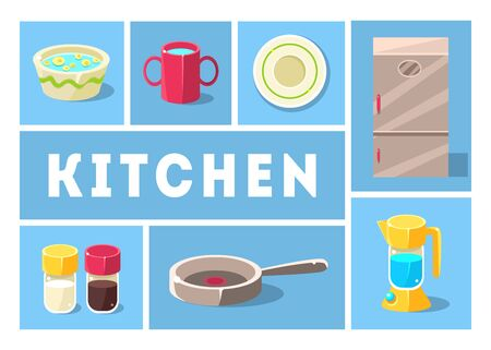 Kitchenware Collection, Kitchen Tools, Cooking Utensils Icons for Web, Banner or Site Vector Illustration, Web Design Stock Illustratie