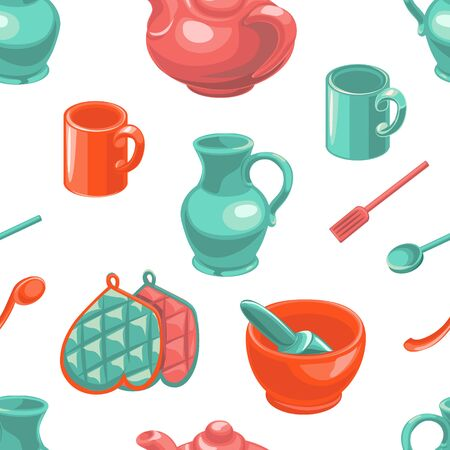 Kitchenware Seamless Pattern, Kitchen Tools, Cooking Utensils, Design Element Can Be Used for Fabric, Wallpaper, Packaging, Background Vector Illustration.
