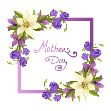 Mothers Day Elegant Card Template with Beautiful Blooming Flowers Vector Illustration on White Background. Stockfoto - 128165527
