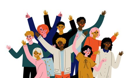 Cheerful Crowd of People of Different Nationalities, Happy Young Men and Women Standing Together Social Diversity Vector Illustration Ilustrace