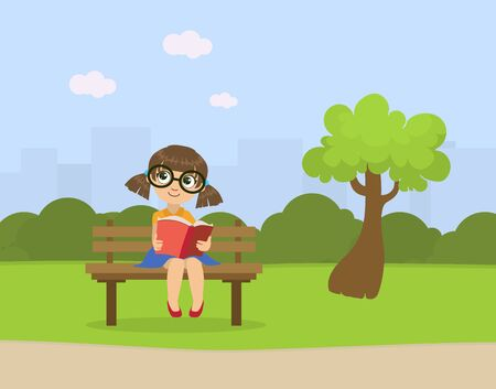 Cute Little Girl Sitting on Bench in Park and Reading Book Vector Illustration, Web Design. Illustration