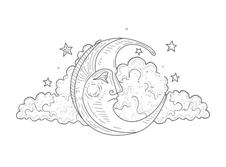Moon Face and Cloud Vintage Hand Drawn Vector Illustration Иллюстрация