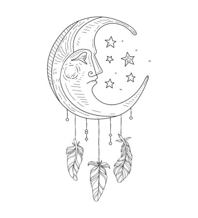 Dream Catcher with Moon Face, Ethnic Indian Symbol Hand Drawn Vector Illustration, Web Design.