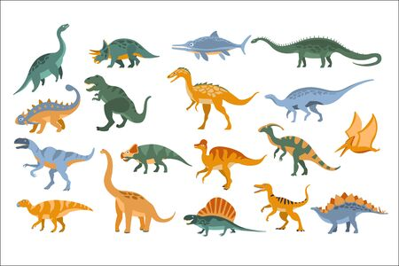 Jurassic Period Dinosaurs Set Flat Simplified Cartoon Style Bright Color Vector Illustration On White Background.