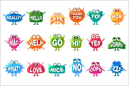 Monster With Words In Mouth For Teeth Set Of Funny Cartoon Emoticon Character Sticker Isolated Stock Vector - 128165541