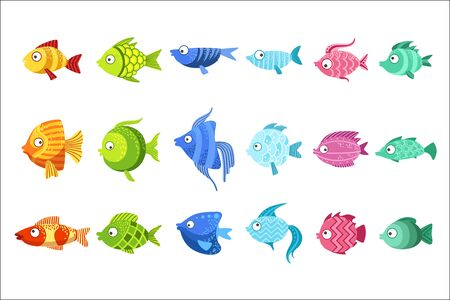 Colorful Fish Set Of Cute Bright Color Childish Design Vector Illustrations Isolated On White Background. Illustration