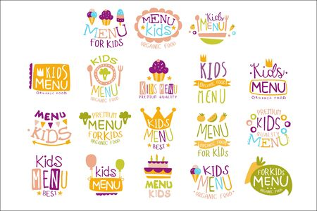Kids Organic Menu Hand Drawn Banner Set