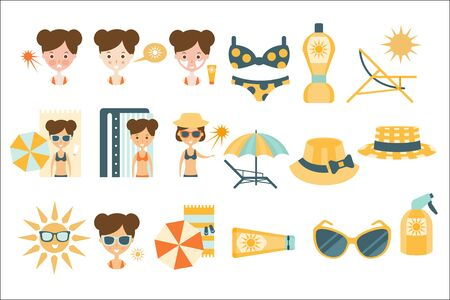 Woman Tanning And Using Skin Protection Flat Simple Cartoon Infographic Style Illustration On White Background Çizim