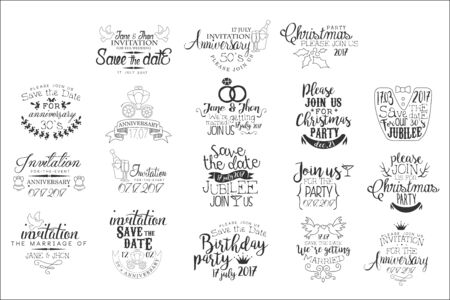 Special Event Hand Drawn Invitation Set Of Artistic Decorative Vector Design Writing