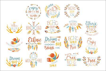 Boho Hand Drawn Banner Set Of Artistic Decorative Vector Design Writing. Standard-Bild - 129040396