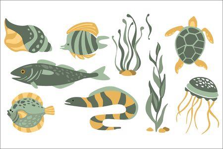 Collection de nature sous-marine stylisée d'icônes dans la conception de vecteur atristique plat sur fond blanc.