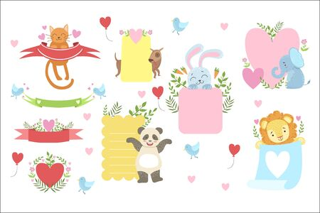 Message Template Set With Cute Animals Detailed Cute Vector Design Cards On White Background