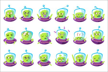 Alien In Ufo Emoji Set Of Simplified Cartoon Character Stickers Isolated Stockfoto - 128165558