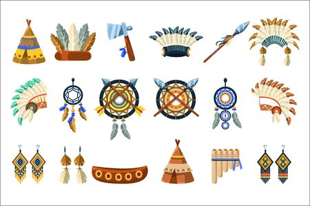 North American Indians Culture Set Of Simple Flat Realistic Vector Illustrations