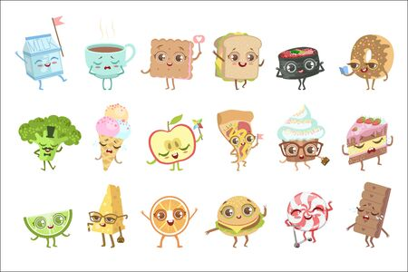 Different Food Childish Characters Emotion Set Of Detailed Adorable Flat Vector Drawings Isolated On white Background.