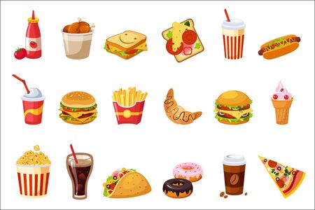 Fast Food Items Set Of Realistic Design Vector Stickers Isolated On White Background Иллюстрация