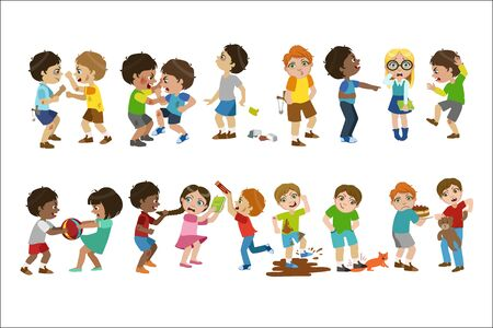 Kids Bullies Childish Cartoon Style Cute Vector Illustration On White Background
