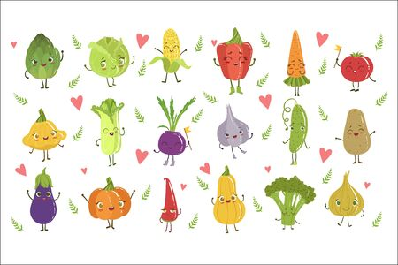 Funny Girly Design Vegetables Set Of Adorable Flat Cartoon Humanized Vector Drawn Characters  イラスト・ベクター素材