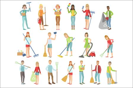 Adult People Cleaning Up Indoors Set Of Simple Cartoon Flat Vector Colorful Characters On White Background. Illustration